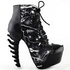 Cool Thunder & Lightning Print Lace-Up Bone Heel Ankle Boots Size 4/5/6/7/8/9/10