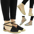 WOMENS LADIES GLITTER LOW FLAT HEEL ANKLE STRAP ESPADRILLES SHOES SANDALS SIZE