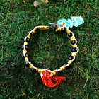 HOTI Hemp Handmade Bracelet Mens Yellow Koi Fish Wood Beads Roach Clip It NWT