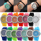 Geneva Fashion Women Ladies Watches Silicone Steel Quartz Crystal Wrist Watches