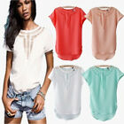 High Grade Summer Beauty Ladies Short Sleeve Carved Hollow Chiffon Tops T-Shirt