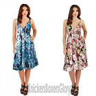 Ladies Floral Sleeveless Short Summer Beach Dress Blue/Pink NEW Size 8 - 22