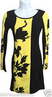 Ladies Women's Celebrity Inspired Floral black yellow printed Bodycon Mini Dress