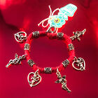 HOTI Hemp Handmade Red Charm Bracelet Ladies Love Cupid Heart Angels Metal NWT