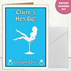 CUSTOMISABLE HEN DO PARTY WHITE BLUE GIRL IN MARTINI GLASS A6 INVITES