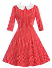 1 2 Sleeve Womens Vintage 50s Polka Dots Swing Pin Up Casual Housewife Dresses