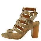 Qupid Lucite 32A Taupe Women's Caged Strappy Block Heel Sandal