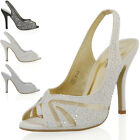 NEW WOMENS DRESSY PEEP TOE SATIN HEEL LADIES DIAMANTE BRIDAL PROM SANDALS