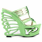 Holographic/Red Stud Cut-out T Bar Butterfly Heel Mule Sandals Size 4/5/6/7/8/9