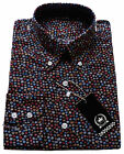 Relco Mens Black Swirly Dot Cotton Shirt With Button Down Collar Mod Retro Spot