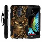 For LG K Phone Series Rugged Armor Holster Clip Hybrid Tree Camouflage Case