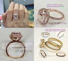 10x12mm Oval Morganite Engagement Diamonds Halo Ring 14K Rose/White/Yellow Gold