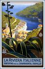 ITALIAN RIVIERA ITALY VINTAGE STYLE REPRODUCTION TRAVEL POSTER Choice of sizes.