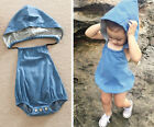 Toddler Baby Girl Boy Newborn Jean Hooded Romper Bodysuit Playsuit Clothes 6-24M