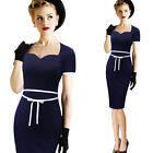 Womens Vintage Retro Rockabilly Bowknot Pinup Casual Party Bodycon Dress 1988