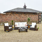 5 Seater Brown Rattan Weave Garden Furniture Conservatory Sofa Set SPECIAL OFFER