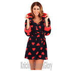 Ladies Heart Print Hooded Fleece Dressing Gown/Bathrobe/Robe Navy Size XS,S,M,L