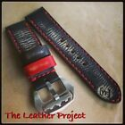 Handmade Black & Red Vintage Leather Strap Band fit for big watch