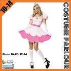 Womens Ladies Princess Peach Super Mario Kart Fancy Dress Costume Sizes 10 - 14