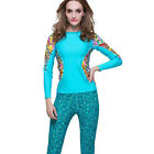 Women Contrast Printed Wetsuit Long Sleeve Shirt Floatsuit Surfing Wakeboard Top