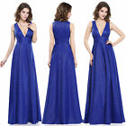 Women's Sexy Sapphire Blue V-neck Long Evening Party Formal Prom Dress 08852