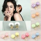 New Fashion Women Gold Plated Rhinestone Crystal Pearl Elegant Ear Stud Earrings