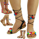 NEW WOMENS LADIES STRAP FLATS LACE UP SHOES PADDED COMFORT POM POM SANDALS SiZE
