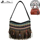 Large Montana West  Black Aztec Fringe Concealed Handgun Tribal Hobo Bag