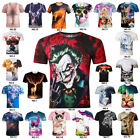 3D Men's T-shirt Casual boy's t shirt crew neck Short Sleeves Tee Tops Blouse UK