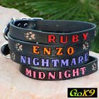 "1"" Dog Collar. Lg Black Leather Personalized Pet Name, Opt. Phone #"
