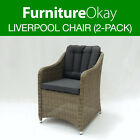 Liverpool Wicker Rattan Outdoor Dining Lounge Chair Patio Garden Furniture