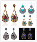Vintage Ethnic Teardrop Dangle Rhinestone Geometric Flower Stud Dangle Earrings