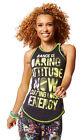 ZUMBA® EXPLODING WITH ATTITUDE RACERBACK TOP DARING STRONG TO BREAK FREE.~RARE!