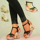 NEW WOMENS T-BAR WEDGES LADIES FLOWER PLATFORMS ANKLE SANDAL SHOES SIZE UK 3-8