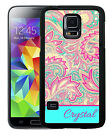 PERSONALIZED RUBBER CASE FOR SAMSUNG GALAXY S4 S5 S6 TEAL CREAM BLUE PAISLEY