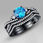 2.60 Ct Blue Round Cut 925 Sterling Silver Bridal Engagement Wedding Ring Set