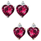 0.01 Carat Diamond Heart Ruby Birth Gemstone Earrings 14K White/Yellow Gold