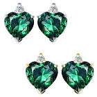0.01 Carat Diamond Heart Emerald Birth Gemstone Earrings 14K White/Yellow Gold