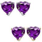 7mm Heart CZ Amethyst Birthstone Gemstone Stud Earrings 14K White/Yellow Gold