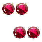 6mm Round CZ Ruby Birthstone Gemstone Stud Earrings 14K White Yellow Gold
