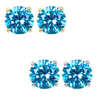 6mm Round CZ Blue Topaz Birthstone Gemstone Stud Earrings 14K White Yellow Gold