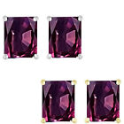 6mm Octogon CZ Alexandrite Birthstone Gemstone Earrings 14K White Yellow Gold
