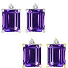 0.01 Ct TCW Diamond Octogon Amethyst Gemstone Earrings 14K White Yellow Gold