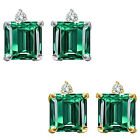 0.01 Carat TCW Diamond Princess Emerald Gemstone Earring 14K White Yellow Gold