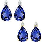 0.01 Carat TCW Diamond Pear Sapphire Gemstone Earrings 14K White Yellow Gold