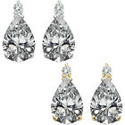0.01 Ct TCW Diamond Pear Gemstone Stud Earrings 14K White Yellow Gold