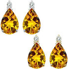 0.01 Carat TCW Diamond Pear Citrine Gemstone Earrings 14K White Yellow Gold