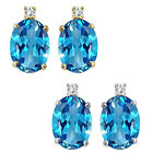 0.01 Carat Diamond Oval Blue Topaz Gemstone Earrings 14K White Yellow Gold