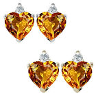 0.01 Carat TCW Diamond Heart Citrine Gemstone Earrings 14K White Yellow Gold