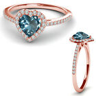 8MM Aquamarine Birth Gem Stone Halo Solitaire Heart Love Ring 14K Rose Gold